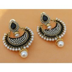 Lovely Black Stone & Pearl Earrings