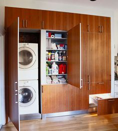 Make the task of doing laundry easier with extra storage space that is perfect for stain removers, detergents, and dryer sheets. This laundry space makes room for all of the essentials but remains out of the way when not in use./