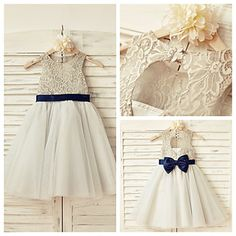 A-line+Knee-length+Flower+Girl+Dress+-+Lace+/+Tulle+Sleeveless+–+USD+$+49.99
