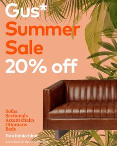 There's only two weeks left of our Gus* Summer Sale! Take advantage of off luxurious statement pieces like this Wallace Leather Sofa. Stitching Leather, Chair And Ottoman, Leather Sofa, Summer Sale, Sectional Sofa, Accent Chairs, Outdoor Decor, Modern, Design