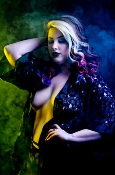 Wildy Valentine Burlesque artist and model from Québec Canada Photo by : Frank Lam     https://www.facebook.com/WildyValentine    #burlesque #smoke #plussizemodel #dark #photography #blacklace #malicia