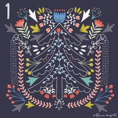 Christmas advent  inspired by kantha embroidery from the Bengal region and folk art. #christmasadvent #florawaycott
