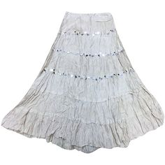 Mogul Womens Long Skirt Grey Broomstick Crinkle Flare Gypsy Fashion... ($15) ❤ liked on Polyvore featuring skirts, long gray skirt, floor length skirt, flared maxi skirt, maxi skirts and gypsy skirt
