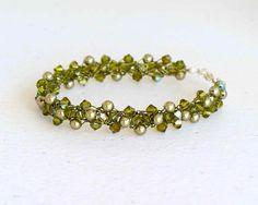 Olive Green Swarovski Crystal Pearl Bracelet