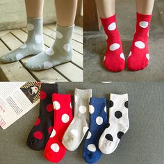 Women Ladies Cotton Blend Polka Dot Printed Socks Harajuku Style Mid-Calf Hosiery at Banggood