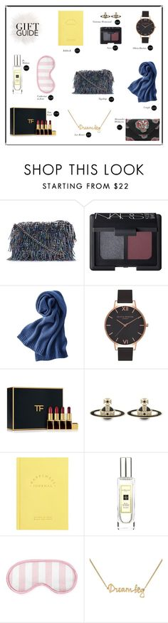 """""""Gift Guide: Besties"""" by mariannamic ❤ liked on Polyvore featuring Topshop, NARS Cosmetics, Uniqlo, Olivia Burton, Tom Ford, Vivienne Westwood, kikki.K, Jo Malone, Catherine & Jean and Lee Renee"""