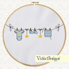 Baby Clothes Cute Cross Stitch Pattern PDF Blue by VickieDesigns, $5.00