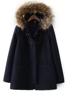 manteau en laine à capuche fausse fourrure -bleu marine -French  SheIn(Sheinside) c44a578db15