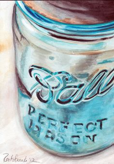 This is a detail shot (bigger shot) of my watercolor ball jar painting. More ball jars are in the works in my studio!