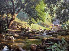 JOSÉ ROSÁRIO - Um trecho do Ribeirão Mumbaça em Dionísio Óleo sobre tela - 75 x 100 - 2012