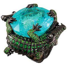 Crocodile ring in 18k black rhodium gold with 80ct Paraiba centre stone, brown diamonds and tsavorites