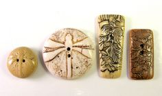 "Faux Bone and Ivory Polymer Clay Buttons or Clasp Components - ""Garden"" Variety 