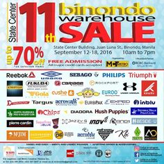 Check out The 11th Binondo Warehouse SALE!  Enjoy holiday price cuts by up to 70% OFF on shoes, bags, men's and ladies' fashion, sporting goods and accessories, personal care, appliances and gadgets and many more!  This event is happening on September 12 - 18, 2016 at the State Center Investment Building, along Juan Luna Street and across the St. Lorenzo Ruiz Church from 10am - 7pm daily.  For more promo deals, VISIT http://mypromo.com.ph/! SUBSCRIPTION IS FREE!