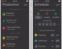 Productive (free, iOS) creates an easy-to-read daily habit schedule.