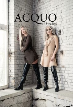 Two blondes modeling Acquo thigh boots Thigh High Boots Heels, Stiletto Boots, Heeled Boots, Crotch Boots, Rainy Day Fashion, Long Boots, Sexy Boots, Fashion Boots, Fashion Fall