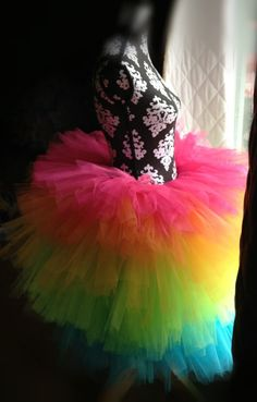 Junior's Women's Misses Rainbow Tutu Cocktail Fluffy Formal Prom Skirt - now available in my etsy shop!