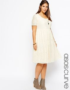MOTHER OF THE BRIDE : ASOS CURVE Exclusive Midi Dress In Lace With Short Sleeves. Colors available: Cream or Navy.