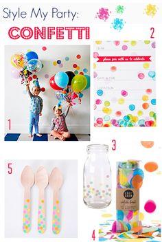 Confetti Kids Party Decorations   Wooden spoons, milk bottles, confetti balloons, confetti invitations