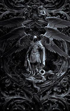 "The art of Nekro - photomanipulation - Archangel Michael kills Satan; titled, ""Three circles of hell"" Dark Fantasy Art, Dark Art, Final Fantasy, Archangel Tattoo, Archangel Azrael, Art Noir, Arte Obscura, Angel Warrior, Arte Horror"