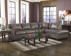 Contemporary Gray Bonded Leather Sectional Modern Couch Living Room Furniture | eBay