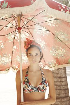floral bikini, head scarf and umbrella