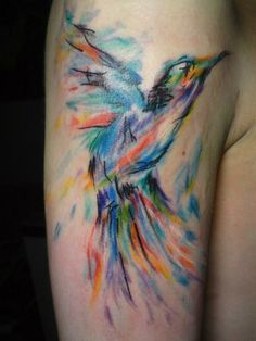 watercolor tattoo. Bird. I will always love this. I want something like this. But not a bird