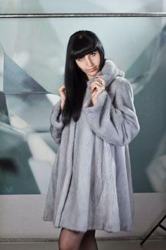 gray mink fur coat