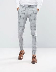 ASOS Super Skinny Suit Pants In Green Window Pane Check is part of Mens pants fashion - Mens Plaid Pants, Plaid Pants Outfit, Mens Dress Pants, Suit Pants, Suit Fashion, Fashion Pants, Formal Men Outfit, Men Formal, Mens Formal Pants
