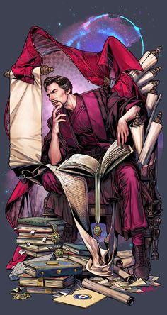 Doctor's research mood :) Marvel Fan Art, Marvel Dc Comics, Marvel Heroes, Marvel Characters, Marvel Movies, Marvel Avengers, Doctor Strange Comic, Doc Strange, Ragnor Fell