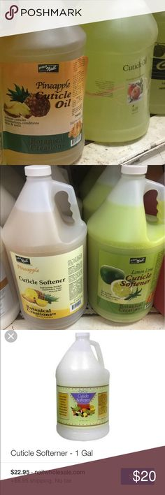 ProNail 1 gallon cuticle oil or cuticle softner This is for heavy duty salon. The brand is by ProNail if you can't google the product online is because I only sell got license professionals. The size is one gallon. Pick which one you want: please :) Accessories
