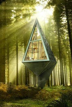 une maison insolite en forme de triangle dans le foret