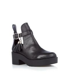Limited Black Leather Cut Out Ankle Boots