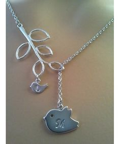 PERSONALIZED INITIAL Mommy and Baby Bird Lariat Necklace, Family initial necklace need another little bird