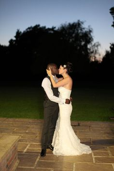 Bride and groom at dusk.  Bickley Manor.