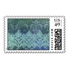 ABERDEEN HEIRLOOM, LACE & DAMASK: TRENDY TEAL POSTAGE STAMP