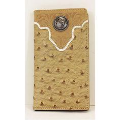 Beige Concho Long Folding Wallet