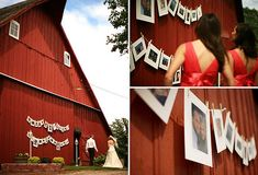 fun ways to display engagement and old family wedding photos at your wedding!