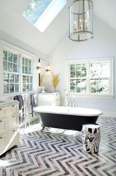 Unique Chevron Floor Eclectic Bathroom