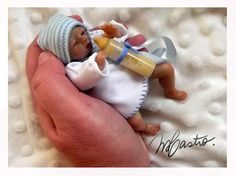 Polymer Clay Baby OOAK Miniature Babies Sculpt OOAK with Hospital Bassinet