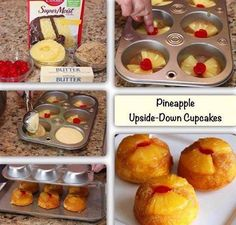 Pineapple, warm butter, gooey brown sugar and cherries are the delicious flavors. - Pineapple upside down cupcakes with cake mix - Cupcake Recipes, Cupcake Cakes, Dessert Recipes, Cup Cakes, Delicious Desserts, Cupcake Ideas, Mini Cakes, Yummy Food, Food Cakes