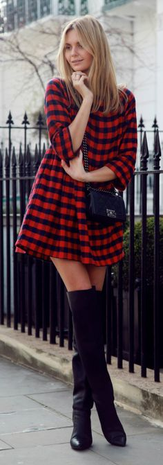 Asos check dress, 3.1 Phillip Lim boots, Chanel bag; This pic for me is all about the boots; literally look like boots meets knee highs all in one and in a very non-slutty way. The dress here with it adds to the fashion side of the boots.