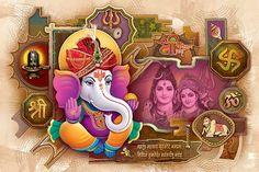 Ads Art Poster Wall decorative and Personalise Greeting cards Ganesha Painting, Ganesha Art, Lord Ganesha, Lord Krishna, Lord Shiva, Ganesha Pictures, Ganesh Images, Ganesh Chaturthi Images, Jai Ganesh
