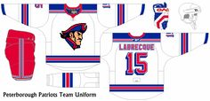 A what if concept series from the movie Slap Shot. A modern take of the teams in the Federal League if they existed today. Slap Shot, Patriots Team, Team Uniforms, Peterborough, Ice Hockey, Mlb, Concept, Fantasy, Modern