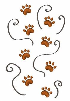 Windmill Designs Embroidery Design: Paw Prints 3.42 inches H x 2.18 inches W