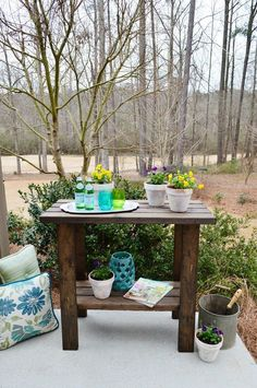"""Free woodworking plans to build a potting bench - Potting Bench Plans using 2"""" x 4"""" lumber"""