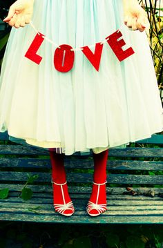 love the red tights with white skirt and shoes. Also cute with robins egg blue . ..