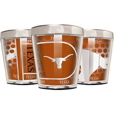 Great American Products Officially Licensed NCAA 3-piece Acrylic & Stainless Steel Shot Glass Set - Texas Longhorns