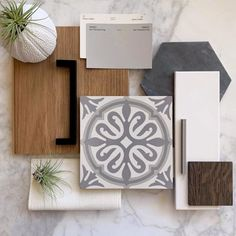 Cement Tile Shop - Zurich II x Pattern - Diggin' this combination of materials by featuring the new Zurich II x pattern (in stock)! Mood Board Interior, Interior Design Boards, Custom Home Builders, Custom Homes, House Color Palettes, Material Board, Design Palette, Colour Schemes, House Colors