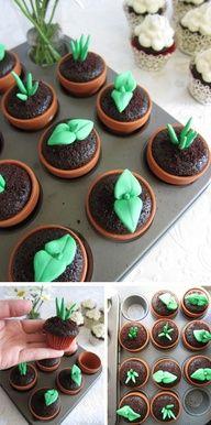Adorable for a garden party! Cupcake Plants!