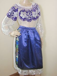 Gorgeous hand embroidered Romanian traditional costume from Banat containing 2 pieces: dress and apron for sale at www.greatblouses.com Aprons For Sale, Romania, Ethnic, High Waisted Skirt, Traditional, Costumes, Beads, Skirts, Handmade